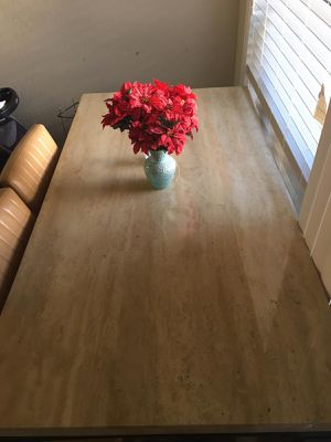 Six seater kitchen and dining table with marble top.Excellent condition for Sale in San Anselmo, CA