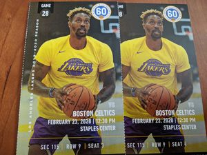 2 tickets Lakers vs. Celtics Section 115, Row 9 for Sale in Los Angeles, CA