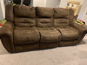 Espresso microfiber reclining sofa and loveseat for Sale in Holmdel, NJ