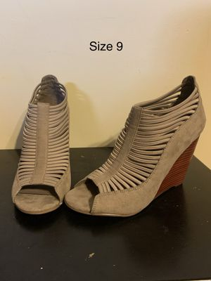 Beige suede open toe wedge heels for Sale in Walton, KY