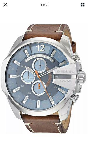 220$ DIESEL DZ-4458 MEGA CHIEF SILVER CASE/BLUE DIAL/BROWN LEATHER MENS WATCH BRAND NEW for Sale in MD, US