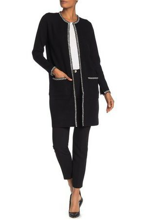 M by Magaschoni Women's Long Sleeve Open Front Cardigan Size S Dark Black MSRP $180 for Sale in Cleveland, OH