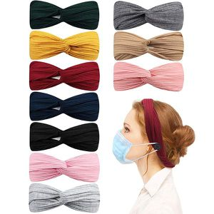 10 Pcs Headbands with Buttons for Face Mask, Knot Headband Twist Headbands for Sale in Corona, CA
