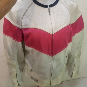 Power trip womens Large motorcycle jacket pink and white bike for Sale in Las Vegas, NV