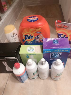 Contact lens cleanser, Tide PODs, Olay Lotion and Facial Steamer for Sale in Arcadia, CA
