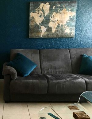 Moving out sale! Grey Suede Sofa Couch / Futon / day bed & Free Coffee table for Sale in Miami Beach, FL