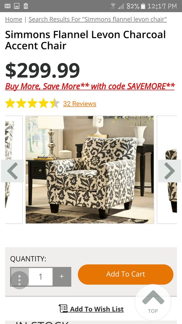 Simmons Flannel Levon Charcoal Accent Chair For Sale In