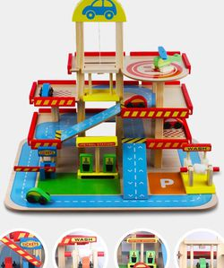 Wooden Parking Lot Car Set Toy Garage Great Gift For Boys for Sale in Chicago,  IL
