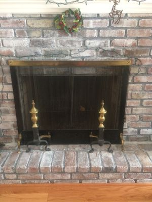 Fireplace screen cover & 2 brass Andirons log holders for Sale in Merrick, NY