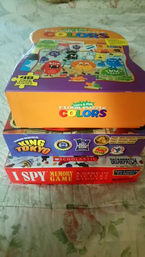 Game bundle: King of Tokyo, I Spy, Silver Dolphin Books Learn & Play Floor Puzzle Colors for Sale in Austin, TX
