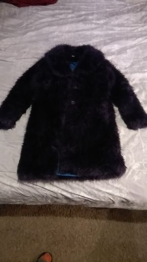 Blanc Noir Outerwear Purple faux fur size medium but can fit a large for Sale in Baltimore, MD