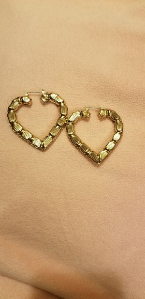 Gold heart bamboo earrings for Sale in Tigard, OR