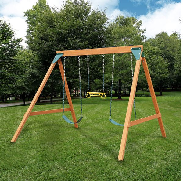 New Brown Wooden Kids Swing Set
