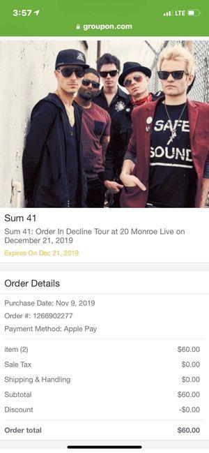 Sum 41 tickets 20 Monroe for Sale in Kentwood, MI