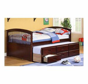 Full Espresso Cpatain bed with twin trundle and storages ( New) for Sale in San Mateo, CA