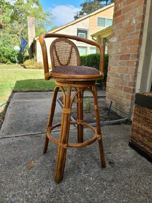 Bamboo and wicker swivel bar stool for Sale in Houston, TX