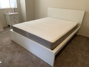 White IKEA Queen Size Bed Frame, Mattress Included for Sale in Portland, OR