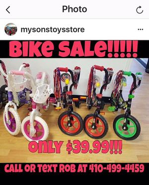 Big Bike Sale 12inch Bikes $39.99 with Training Wheels 4 colors for Sale in Baltimore, MD