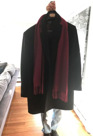 Black dress coat with scarf afazzy New York brand for Sale in Waterbury, CT