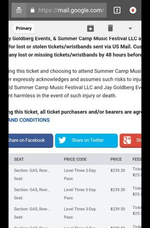 Summer camp music festival tickets for Sale in Chillicothe, IL