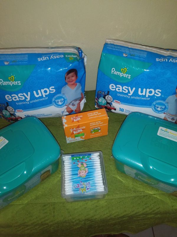 2 easy up size 4T 5T to Pampers diaper wipes Q-tips and Johnson baby soap