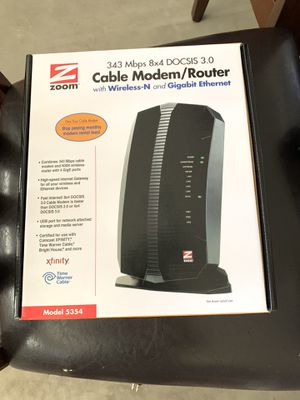Zoom able Modem plus N300 Wireless Gigabit Router, Model 5354 for Sale in Bothell, WA