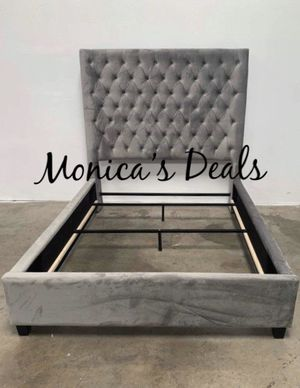 Queen 60 in. tall grey velvet bed frame $400 for Sale in Los Angeles, CA