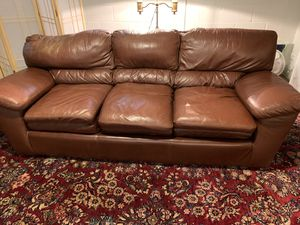 Leather down filled sofa for Sale in Medford Lakes, NJ