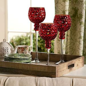 3 Honeycomb Glass Goblets with Tealights for Sale in Pompano Beach, FL