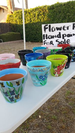 Uniquely hand painted pots for Sale in Bloomington, CA