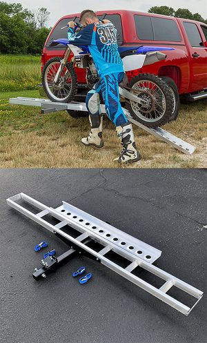 (NEW) $75 Aluminum Foldable Motorcycle Loading Ramp, Scooter, Wheel Chair, Motorbike (Max 450 lbs) for Sale in South El Monte, CA