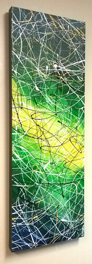 37x13 ORIGINAL POLLOCK STYLE DRIP PAINTING. STRETCHED CANVAS AND READY TO HANG! BRACKETS APPLIED ALLOWING PAINTING TO HANG EITHER WAY! for Sale in Cincinnati, OH