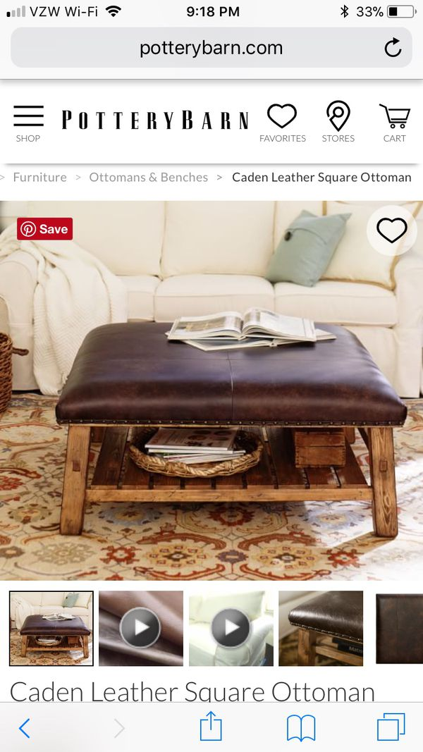 Miraculous Pottery Barn Caden Square Leather Ottoman For Sale In Camellatalisay Diy Chair Ideas Camellatalisaycom