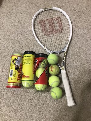 Tennis racket and 13 balls for Sale in Westland, MI