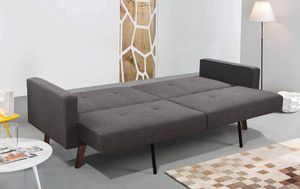 GRAY Split Back Linen Fabric Futon Sofa Bed TUFTED BUTTONS for Sale in Pico Rivera, CA