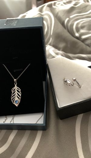 🌸S925 Feather Pendant And Ring sz 7- Stamped silver chain and ring set 🌸BUY 1 get 1 FREE for Sale in Bothell, WA