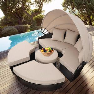 Outdoor Patio Rattan Retractable Canopy Daybed for Sale in Los Angeles, CA