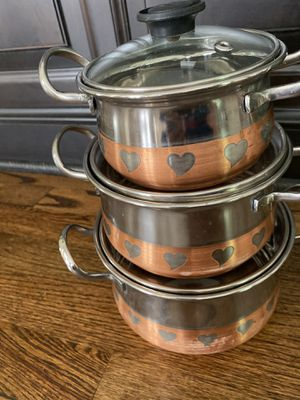3 pieces stainless steel serving/cooking pots for Sale in Concord, NC
