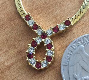 18 1/2 inch gold plated necklace with red and clear stones - unknown makers mark for Sale in Bothell, WA