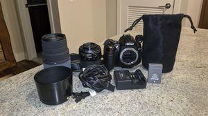 Nikon D D5000 12.3MP Digital SLR Camera Bundle - 2 lenses, charger, lens bag for Sale in Philadelphia, PA