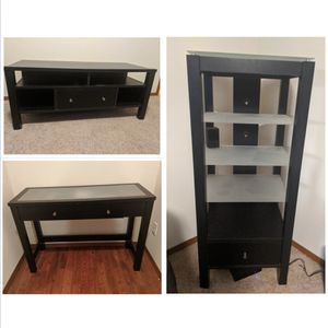 Black Furniture Set - TV, Table, Tower for Sale in Lynnwood, WA