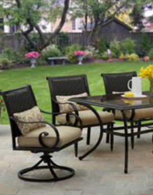 New!! Outdoor patio set, 6 pc dinning chair patio set, patio furniture , tan and aluminum, set of 6 patio chair only for Sale in Phoenix, AZ