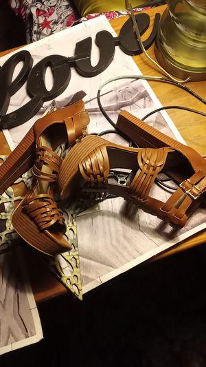 Women's 7.5 heeled sandal light brown for Sale in San Angelo, TX