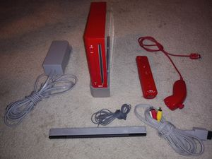 Red Nintendo Wii Video Game Console Bundle RVL-001 W/ 2gb MemoryComplete Tested for Sale in Palmdale, CA