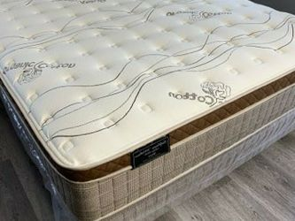 New Cal King Size Organic Cloud Siesta Europillow Top MATTRESS And Boxspring for Sale in La Puente,  CA