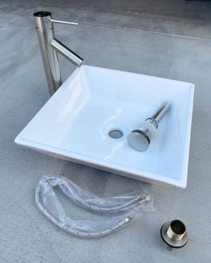 "New in box $80 Bathroom 3pc Set (16x16"" Vessel Sink, Faucet, Popup Drain) Water Hose, Brushed Nickel for Sale in El Monte, CA"