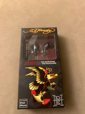 Ed Hardy war bud EARBUDS headphone with MICROPHONE black NIB New in Box for Sale in Los Angeles, CA