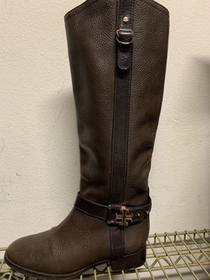 Tory Burch Leather Boots Size 8.5 Women's - Rich Brown w/Gold Logo Buckles for Sale in Fullerton, CA