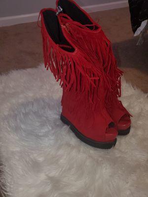 Fringe Peep Toe Wedge Boots for Sale in Philadelphia, PA