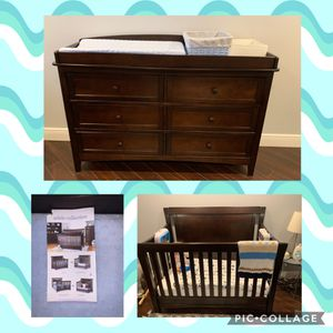 Espresso Crib and Changing Table Dresser for Sale in Miramar, FL
